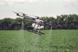 Agricultural drone spraying fertilizer